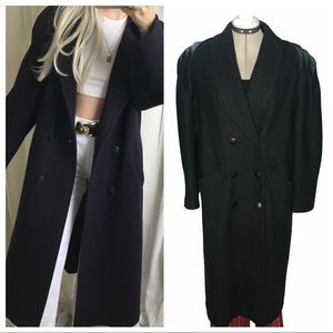 Vintage wool trench coat with leather shoulders